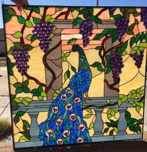Peacock & Jewels Stained Glass Window Panel - Stain With Grapes Feathers Leaves Autumn Art Customizable Item#228