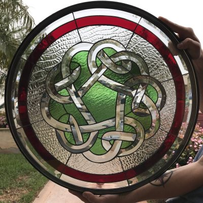 Beveled Celtic Knot Leaded Stained Glass Window Panel - Waterford Clear Decor Art Round Abstract Chain Link Customizable Item# 22