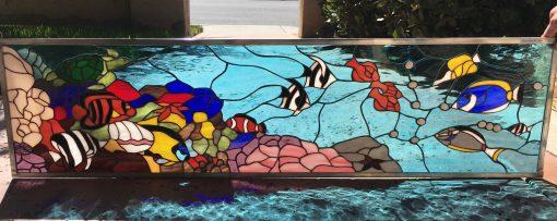 Sealife Stained Glass Transom Window - Fish Turtle Nautical Aquarium Reef Customizable Item#250