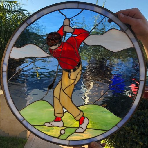 Golfer Leaded Stained Glass Window Panel, Hangings - Golf Sports, Art Decor Gift Red, Blue Custom Made Item#449