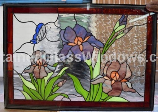 Purple Iris & Butterfly Stained Glass Window Insert Panel, Hangings - Kitchen Customizable Item#374