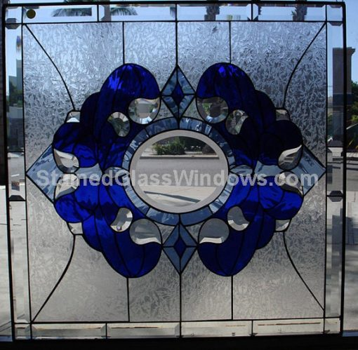 Clear Beveled & Textured Teardrop Stained Glass Window Panel - La Palma Blue Abstract Art Customizable Item#216