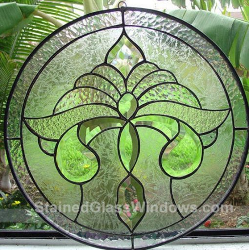 Fleur De Lis Stained Glass Window Panel Suncathcer, Hangings - Beveled Clear Texture Customizable Item#165