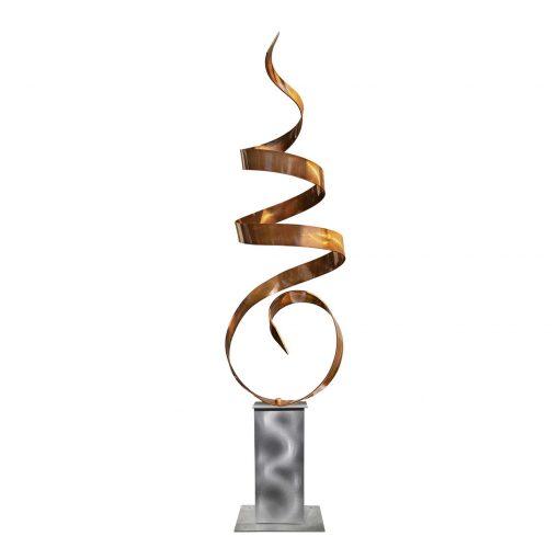 Outdoor Sculpture, Metal Abstract Art, Yard Sculpture Modern Art Office Decor - Copper Sea Breeze Silver Base By Jon Allen