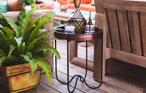 H Potter Side End Table Indoor Outdoor For Patio Deck Balcony Living Room - Antique Copper Finish Quick Folding Removable Round Metal Tray