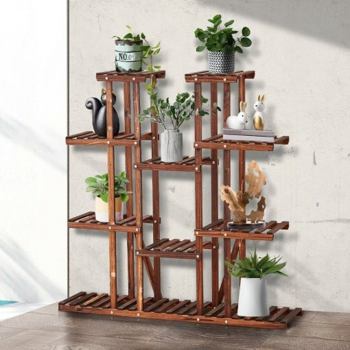 Multi Tier Wood Large Flower Rack Plant Stand Outdoor Indoor Bonsai Display Shelves On Sale