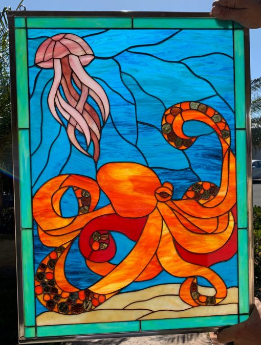 Colorful Octopus & Jellyfish Stained Glass Window Panel Hangings - Ocean Sea Wave Art Customizable Item#202