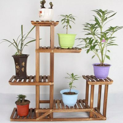 6 Tier Anti Corrosion Wood Plant Stand Flower Multi Shelf For Indoor, Outdoor, Gardening Organizer, Minimalistic| On Sale