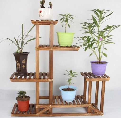 6 Tier Anti Corrosion Wood Plant Stand Flower Multi Shelf For Indoor, Outdoor, Gardening Organizer, Minimalistic  On Sale