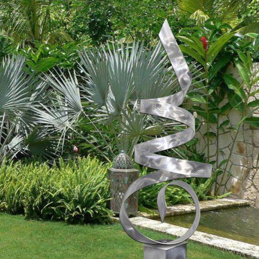 Large Metal Sculpture, Indoor Outdoor Art, Abstract Garden Sculpture Modern Art Metallic - Sea Breeze Silver Base By Jon Allen