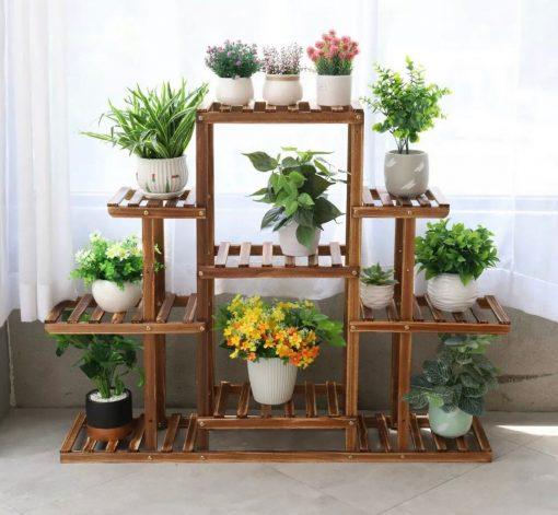 9 Tier Pine Wood Stand For Plants, Bathroom, Bookcase, Shelf, Rack Corner Flower Holder Indoor Garden, Plant Ladder On Sale