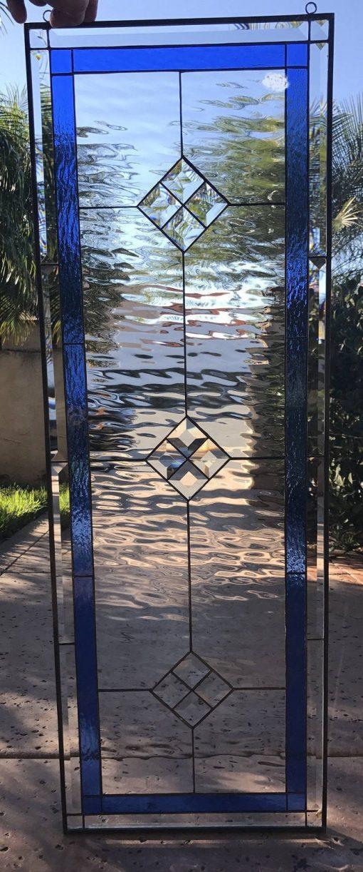 Elegant Stained Glass Window Panel, Transom - La Mirada Clear Large Rectangle Diamond Jewels Customizable Item#123