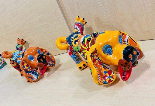 Peeing Dog Statue, Small, Talavera Art, Mexican Home Décor, Unique Gift Idea