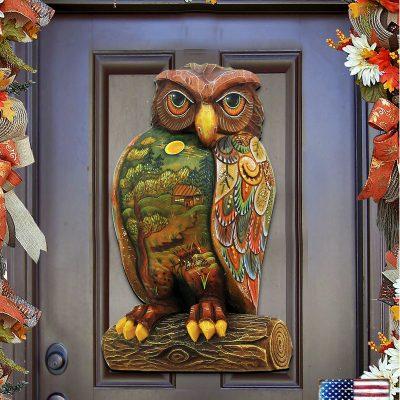 Fall Decor, Owl Wreath, Welcome Halloween Door Hanger 8158912H