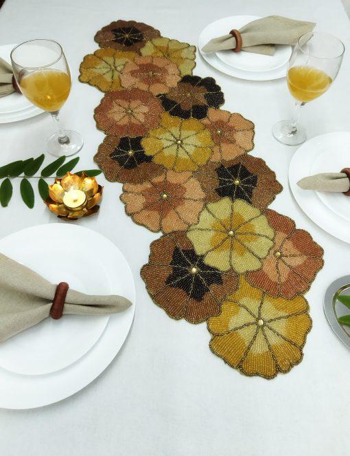 Handmade Multicolor Flower Beaded Table Runner