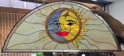 Mystical Kissing Sun Moon Stained Glass Panel, Window, Hangings, Transom - Arched Semi Circle Above Door Customizable Item#356