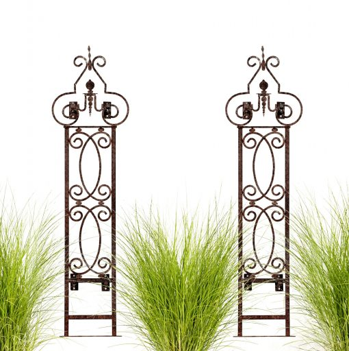 H Potter Wall Trellis Set Of 2 With Mounting Brackets Metal Garden Scroll For Your Deck, Patio, Balcony She Shed Decor