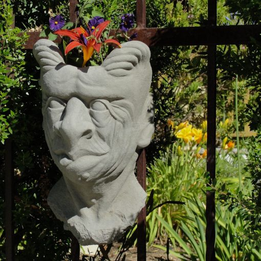 Gargoyle Wall Planter Solid Stone Bust Wall Décor/Flower Pot. Plumbed For Direct Planting, Sealed Outdoor Use. Handcrafted in U.s.a