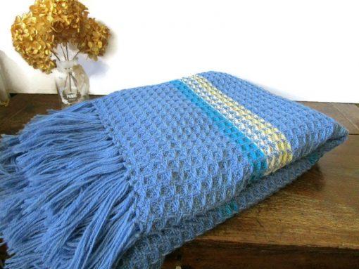 "Natural Wool Throw Blanket 85x49 Blue White Pure Woolen Hand Woven Vintage Swedish Scandinavian Home Décor Bedspread Gift Idea"""