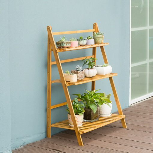 Bamboo Shelf Flower Pot Plant Stand Rack Garden Indoor Outdoor Patio 3 Tier Bookcase | On Sale