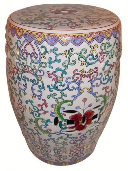 18 H Asian Porcelain Garden Stool Hand Painted Floral Vines