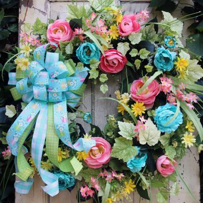 Wreath For Front Door, Teal & Coral Door Wreath, Farmhouse Wreath, Porch Decor, Home Wall Bedroom She Shed