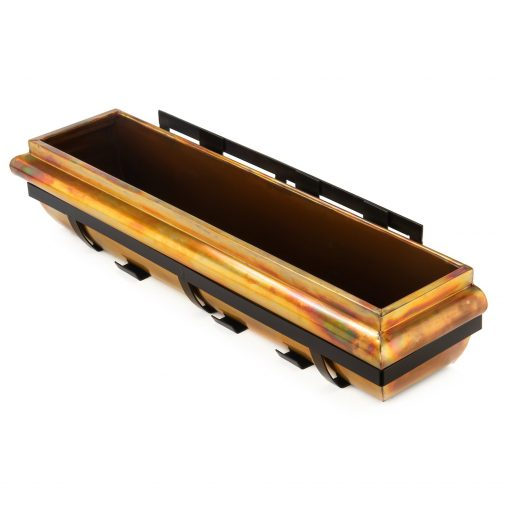 H Potter Window Box 36 Rustic Copper Metal Planter, Brackets - Iron Frame, Large Outdoor Exterior Hanging, Flower, Deck, Garden