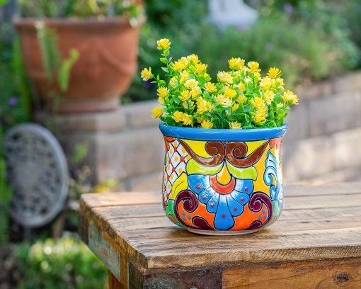 Mexican Talavera Ceramic Flower Pot Succulent Planter Pottery House Plant Home & Garden Decor Medium Turquoise