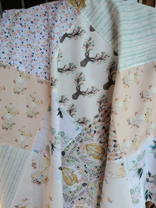 Woodland Nursery Quilt Girl, Fawn & Floral Quilt, Baby Girl Handmade Personalized Deer