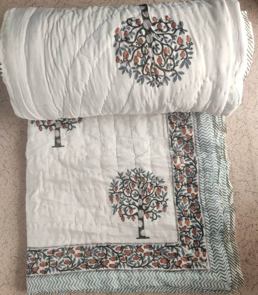 Traditional Jaipuri Art Hand Wooden Block Printed Floral Design Reversible 100%super Organic Cotton Made Kantha Work Bedding Quilt, Comforter