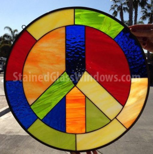 Awesome Colorful Peace Sign Stained Glass Window Panel, Hangings - Abstract Modern Art Hand Made Decor Customizable Item# 10