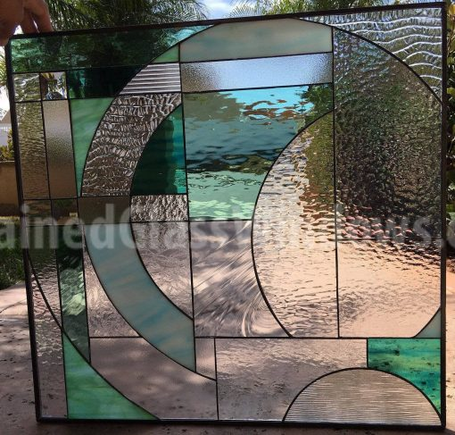 Gorgeous Leaded Stained Glass Window Panel Hangings - Bermuda Clear Textured Abstract Geometric Art Customizable Item#362