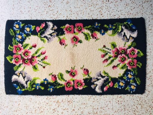 Vintage French Boudoir Carpet Marie-Antoinette Antique Versailles Style Garden Flowers Shabby Chic Hand Knotted Item Bourgeoise Home Decor