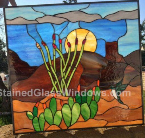 Hummingbird & Cactus Blossoms Stained Glass Window Panel - Southwestern, Desert, Sand, Mountains, Sun, Lake Customizable Item#110