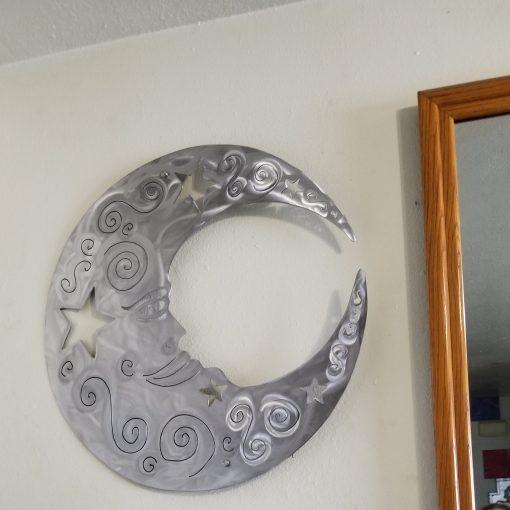 Moon Metal Wall Art Garden Decor. Modern Large Plasma Cut Outdoor/Modern Farmhouse Silver Gift For Her
