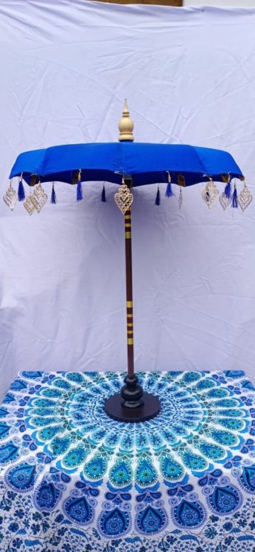 Hand Made Bali Umbrella With Matel Bali . Silk Balinese On Wooden Stand. Table Center Piece Décor Party Umbrella