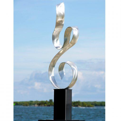 Large Metal Sculpture, Indoor Outdoor Art, Garden Modern Art Abstract Silver Statue - Serenity By Jon Allen