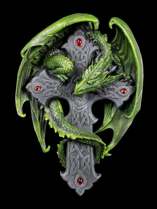 Wall Décor Of Green Dragon Embraces The Cross, Anne Stokes, Fantasy Cross Stitch, Gothic Large Unique Statues