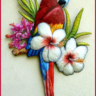 Scarlet Macaw, Parrot Wall Hanging, Tropical Decor, Outdoor Metal Art, Painted Art, Haitian Steel Drum, Art - K7401