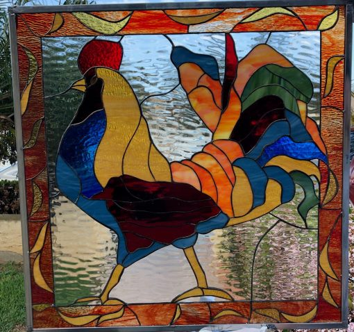 Colorful Rooster Stained Glass Window Panel Cabinet Inserts - Hen, Chicken, Bird Stain Glass, Kitchen Garden Art Customizable Item#480