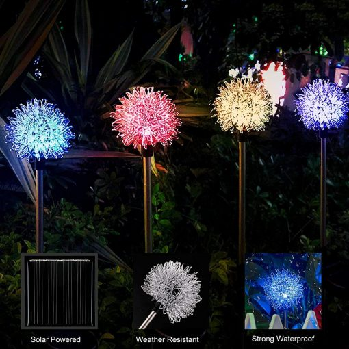4 Pcs Solar Ourdoor Garden Decorative Stake Lights Multi Color Changing Dandelion Flower For Patio, Yard Christmas Decor Fairy Lamps