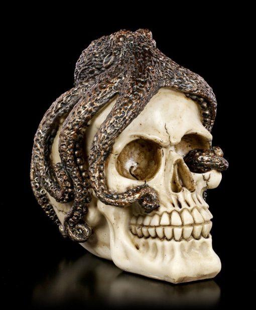 Sea Monster Kraken Octopus On Human Skull, Octopus Sculpture, Fantastic Décor, Kraken, Necklace, Skull Jewelry, Cthulhu Skull