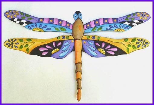 Painted Metal Dragonfly, Metal Wall Decor, Garden Tropical Art, Outdoor Patio J-935-Bl-Gl