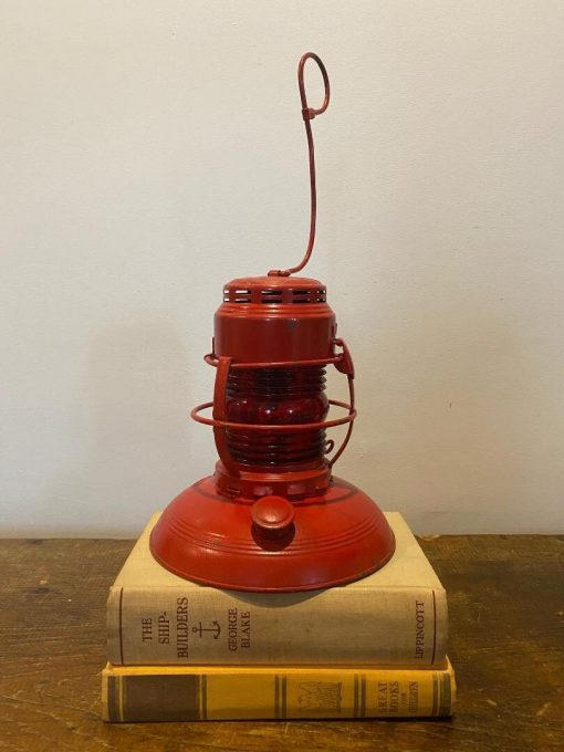 Antique Embury No. 40 Traffic Gard Lantern, S.m. Mcgraw, Original Red With Glass Globe, Beautiful Condition
