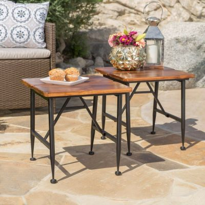 18 Inch Acacia Wood Outdoor Dining Table   Antique Finish Garden & Patio Accent Bistro Side