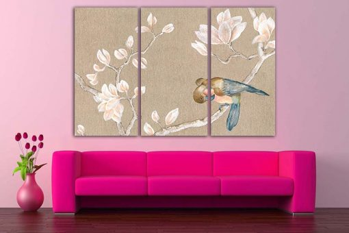 Painting Canvas Bird Paint Explosion Art Flower Wall Abstraction Print Garden Floral Design Magnolia Gift Fine