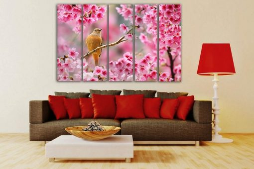 Bird Canvas Flower Wall Art Pink Décor Nature Print Garden Bird Floral Design Sakura Animal Life Gift Fine