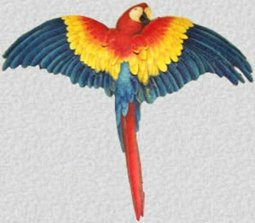 Parrot, Outdoor Metal Wall Art, Bird Decor, Scarlet Macaw, Tropical Decor. Painted Parrot, Hanging, - K7037