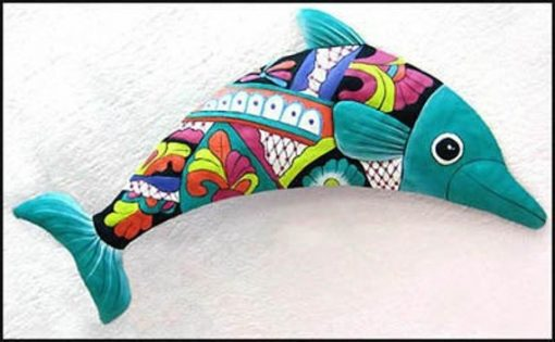 Dolphin Metal Wall Hanging, Art, Outdoor Hand Painted Garden Decor, Tropical Home M300-Tq