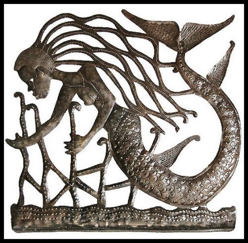 "Metal Mermaid Wall Art - 30 X Art, Haitian Hanging Garden Of Haiti 2009"""